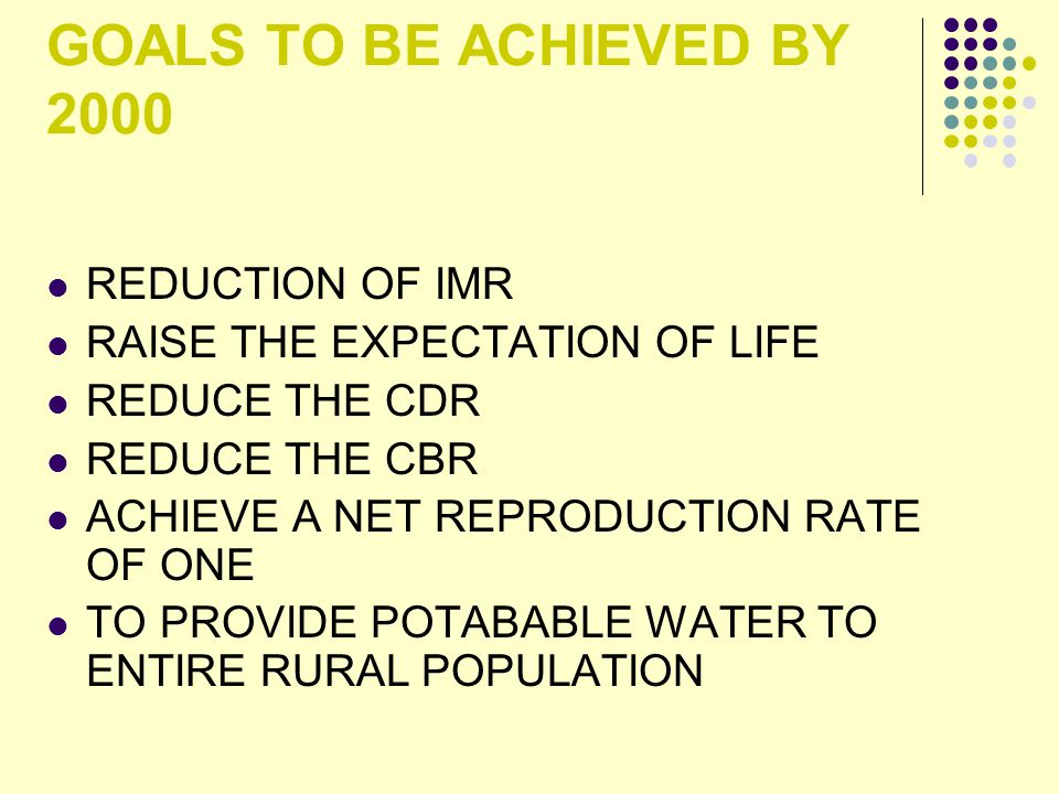 GOALS TO BE ACHIEVED BY 2000 REDUCTION OF IMR