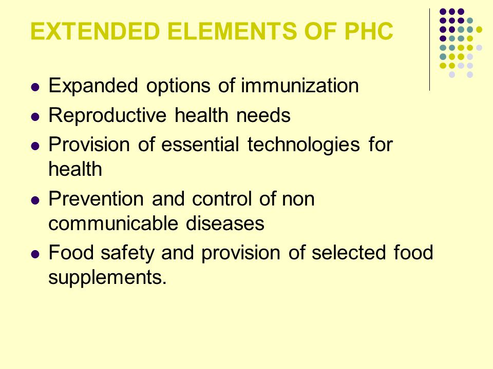 EXTENDED ELEMENTS OF PHC