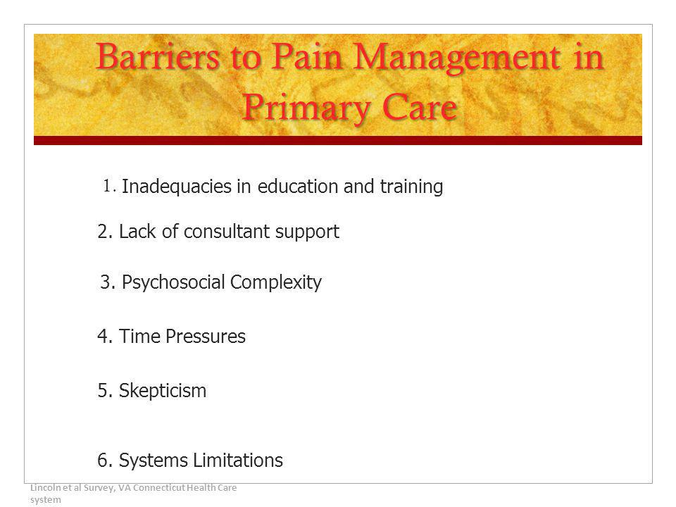 Barriers to Pain Management in Primary Care