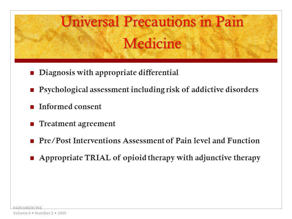 Universal Precautions in Pain Medicine