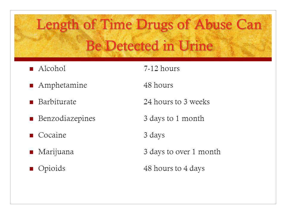 Length of Time Drugs of Abuse Can Be Detected in Urine