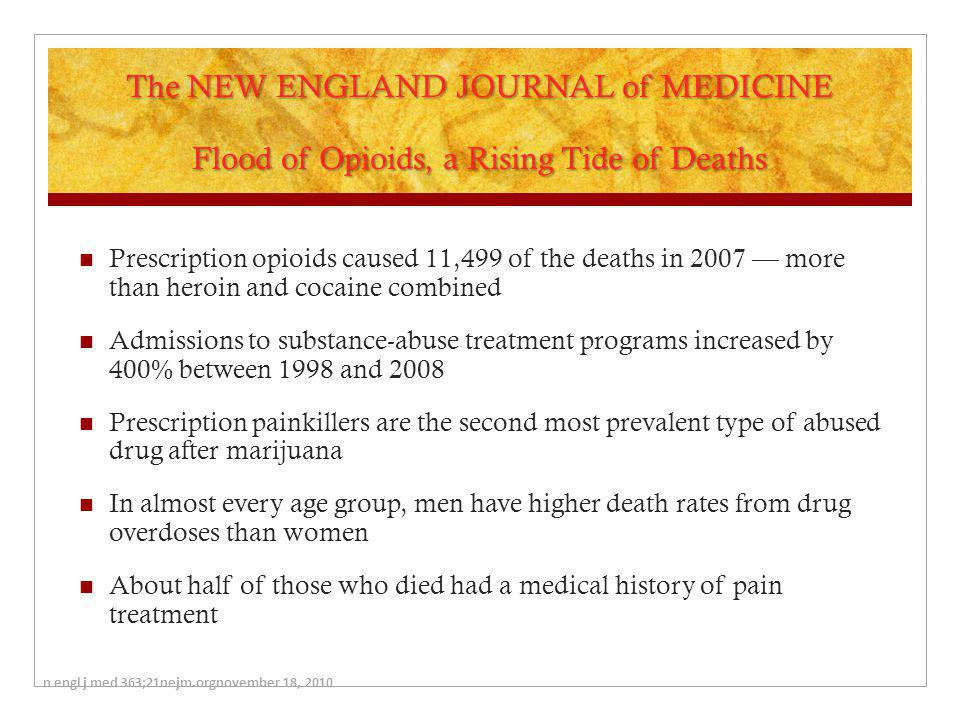 The NEW ENGLAND JOURNAL of MEDICINE Flood of Opioids, a Rising Tide of Deaths
