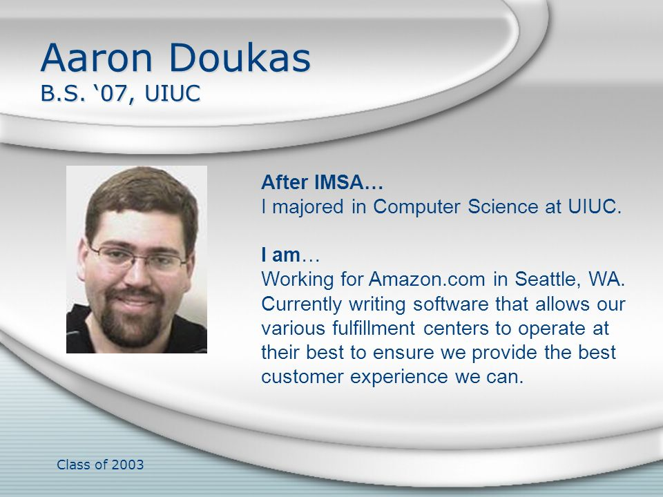 Aaron Doukas B.S. '07, UIUC After IMSA…