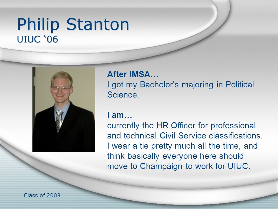 Philip Stanton UIUC '06 After IMSA…