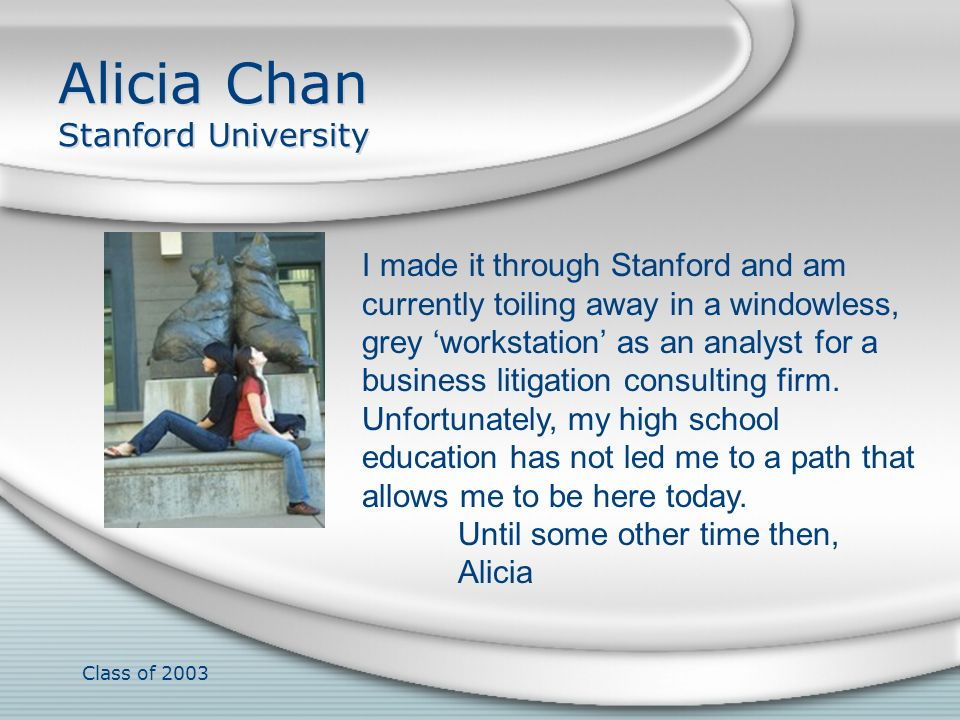 Alicia Chan Stanford University