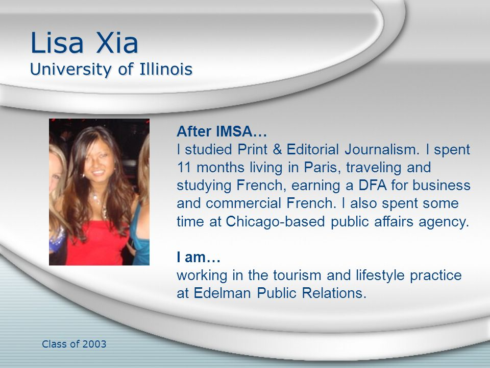 Lisa Xia University of Illinois