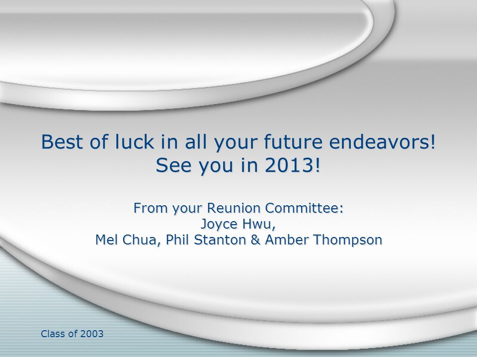 Best of luck in all your future endeavors. See you in 2013