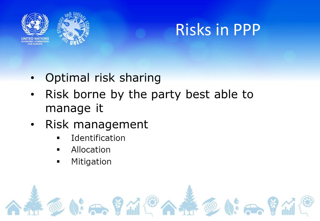 Risks in PPP Optimal risk sharing