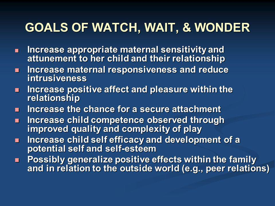GOALS OF WATCH, WAIT, & WONDER