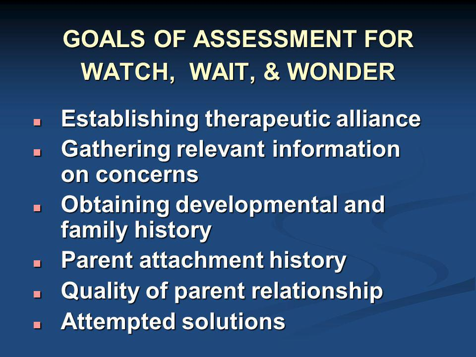 GOALS OF ASSESSMENT FOR WATCH, WAIT, & WONDER