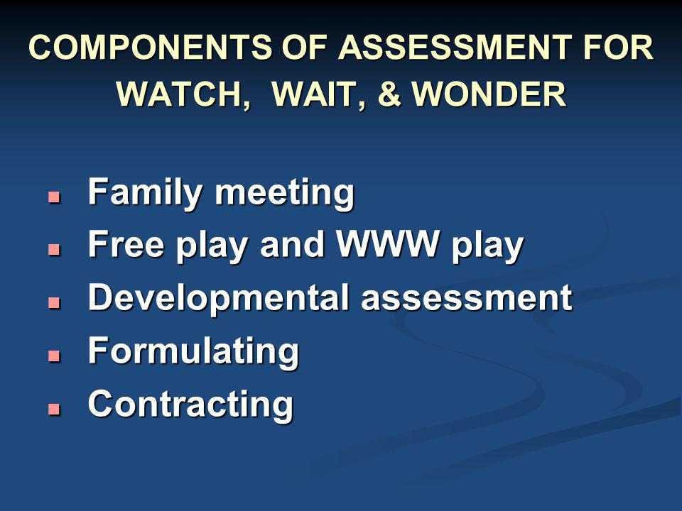 COMPONENTS OF ASSESSMENT FOR WATCH, WAIT, & WONDER