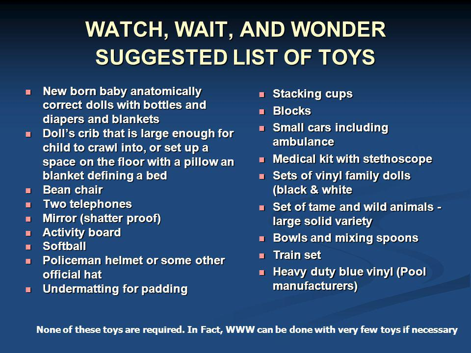 WATCH, WAIT, AND WONDER SUGGESTED LIST OF TOYS