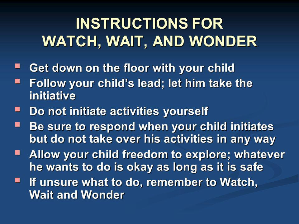 INSTRUCTIONS FOR WATCH, WAIT, AND WONDER
