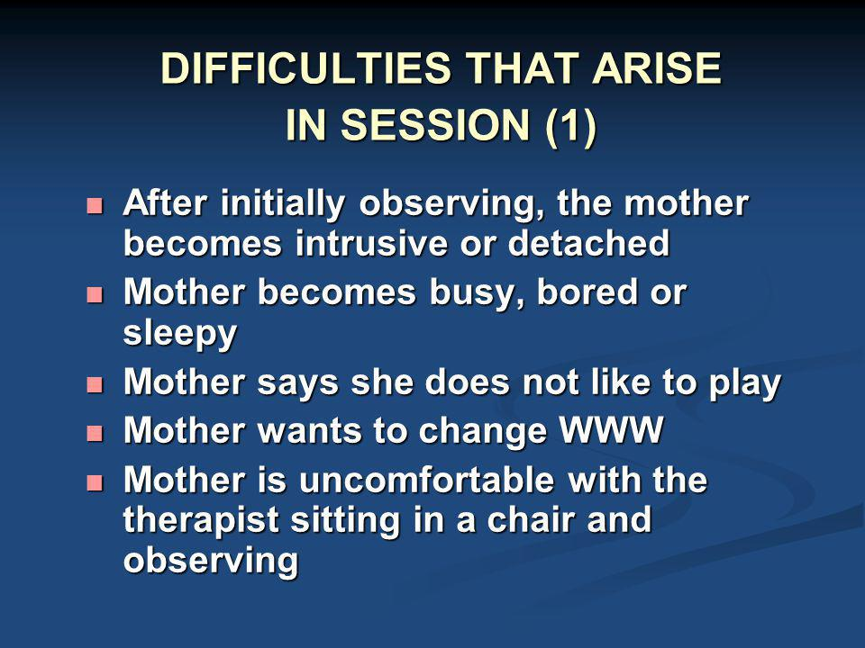 DIFFICULTIES THAT ARISE IN SESSION (1)