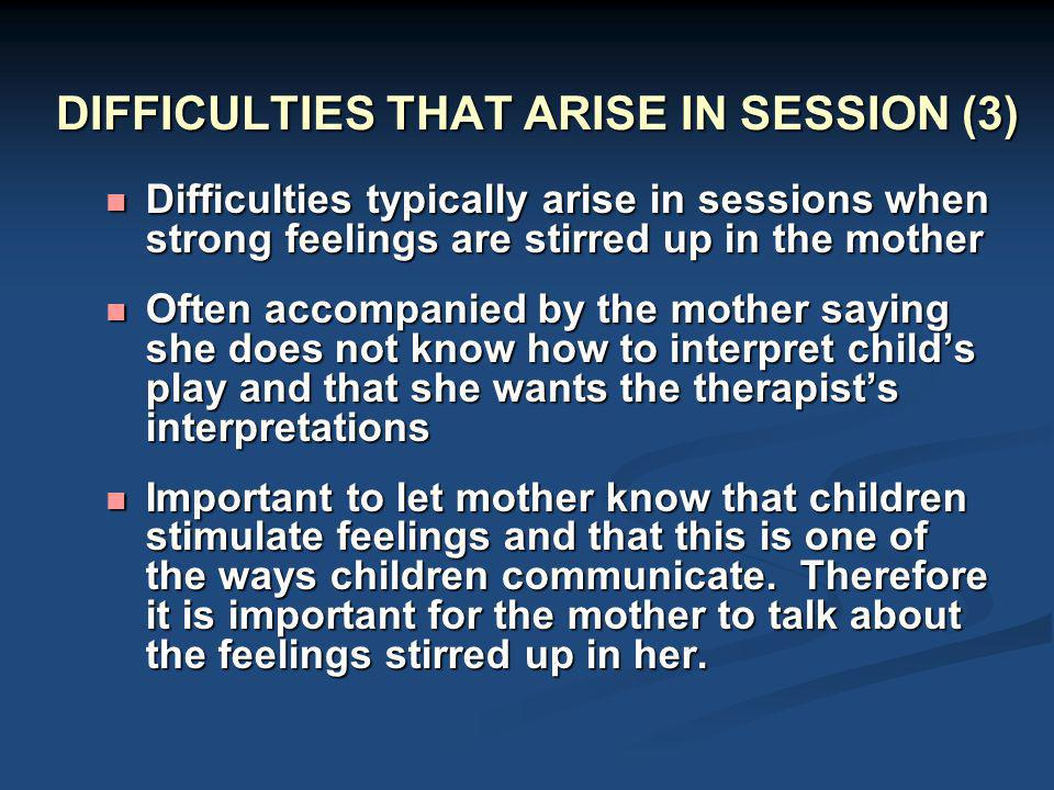 DIFFICULTIES THAT ARISE IN SESSION (3)