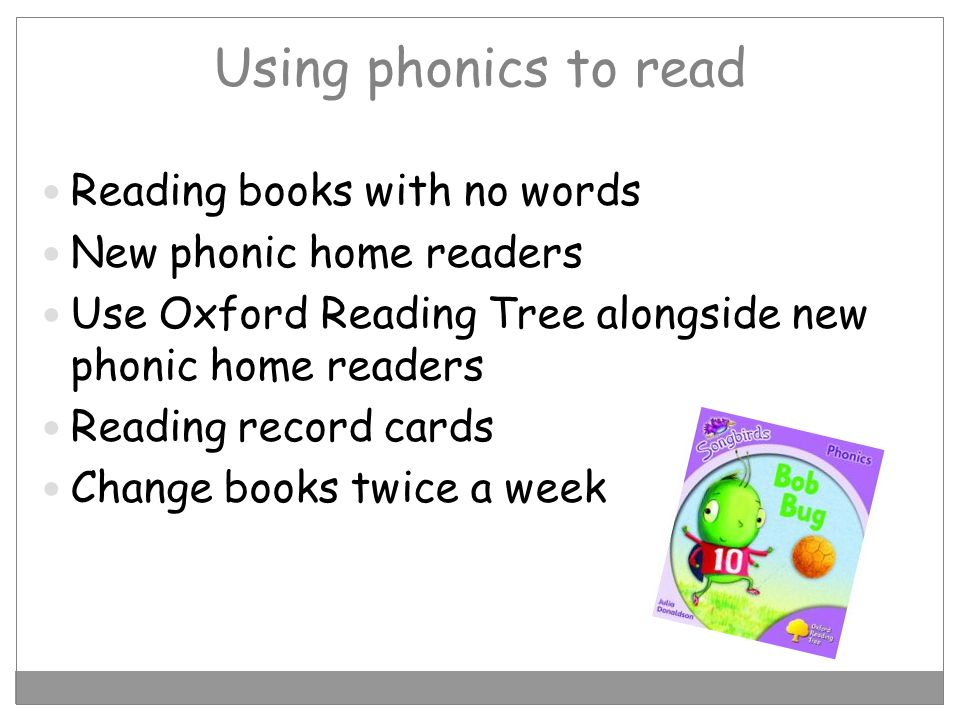 Using phonics to read Reading books with no words