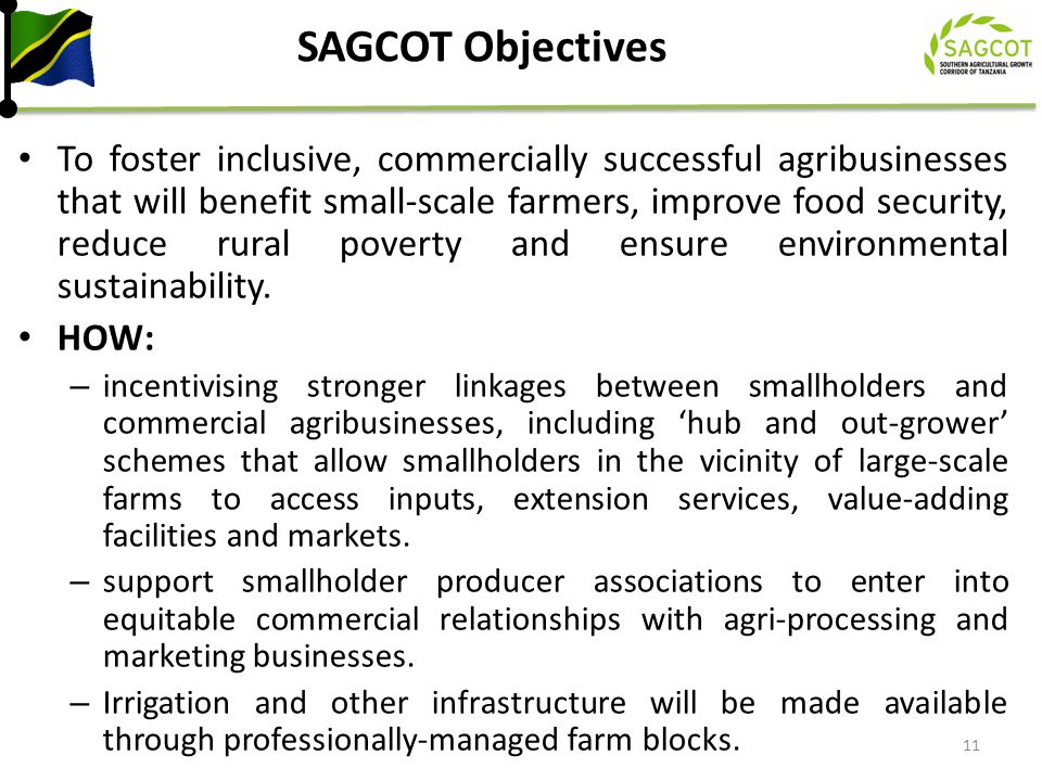SAGCOT Objectives