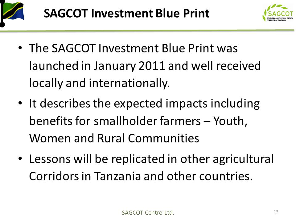 SAGCOT Investment Blue Print