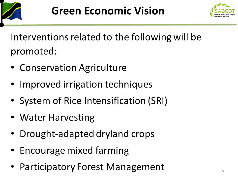 Green Economic Vision Interventions related to the following will be promoted: Conservation Agriculture.