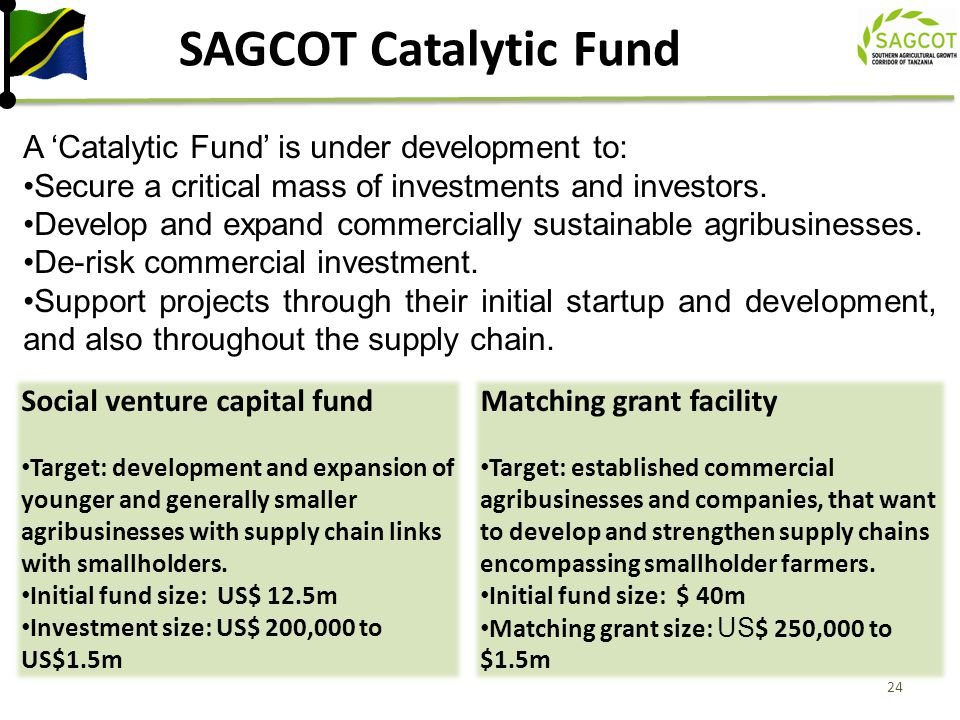 SAGCOT Catalytic Fund A 'Catalytic Fund' is under development to: