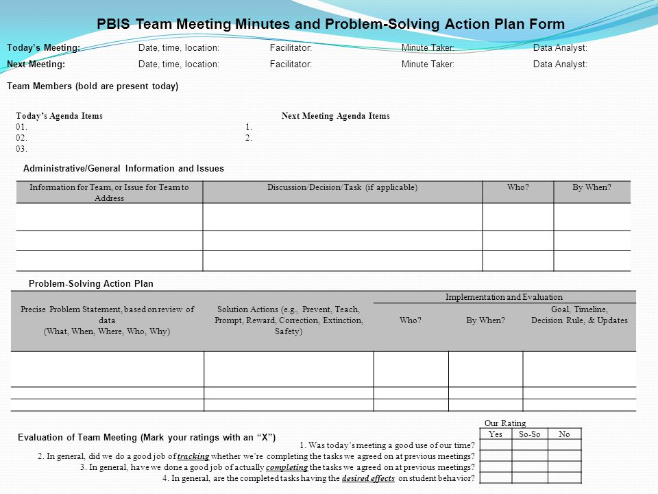 PBIS Team Meeting Minutes and Problem-Solving Action Plan Form