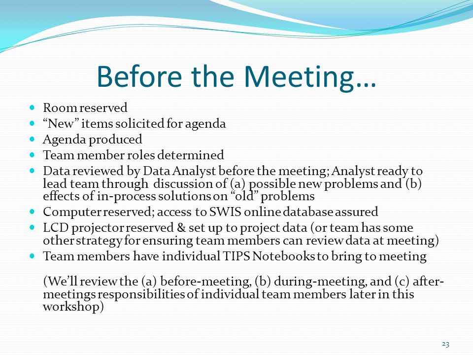 Before the Meeting… Room reserved New items solicited for agenda