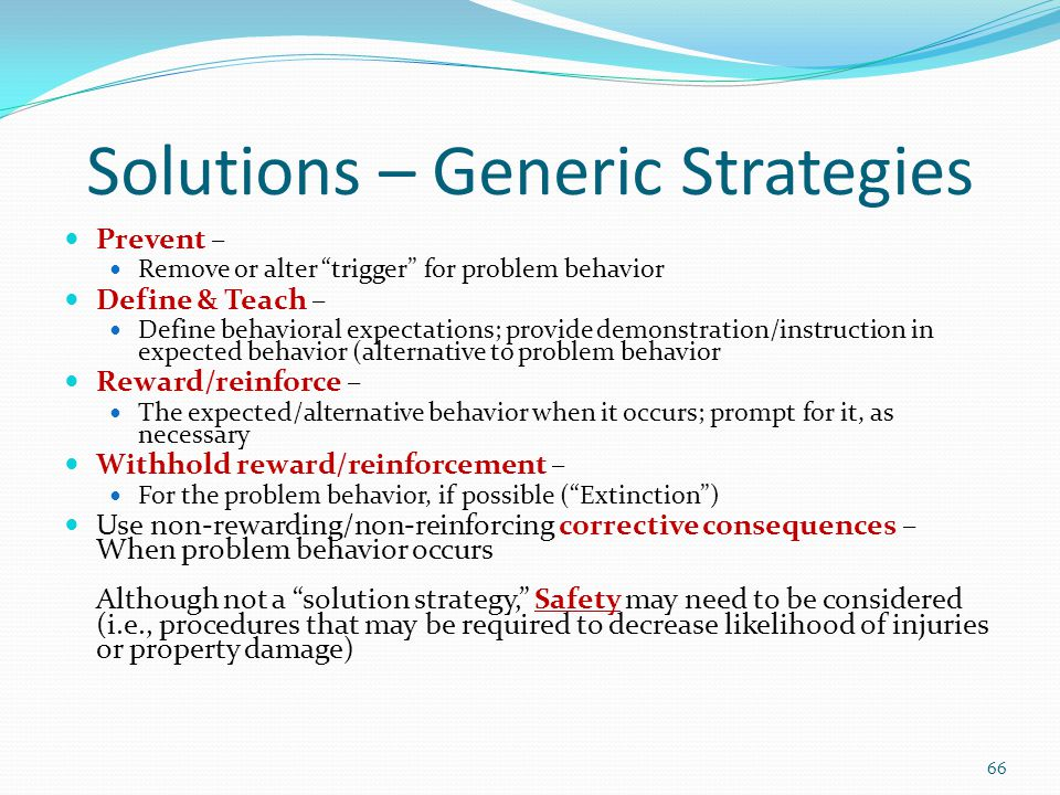 Solutions – Generic Strategies