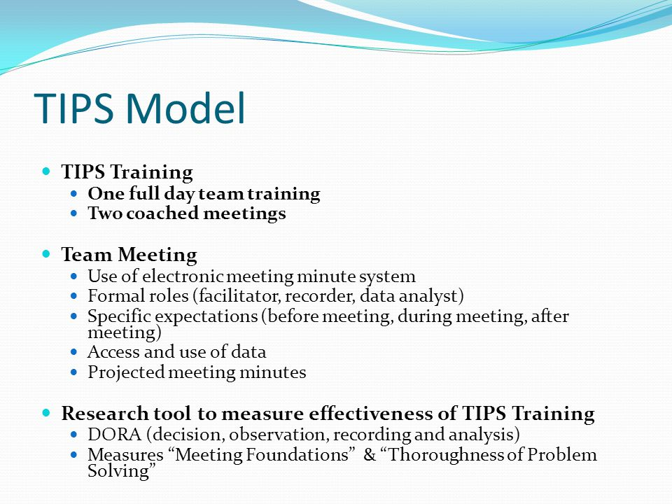 TIPS Model TIPS Training Team Meeting