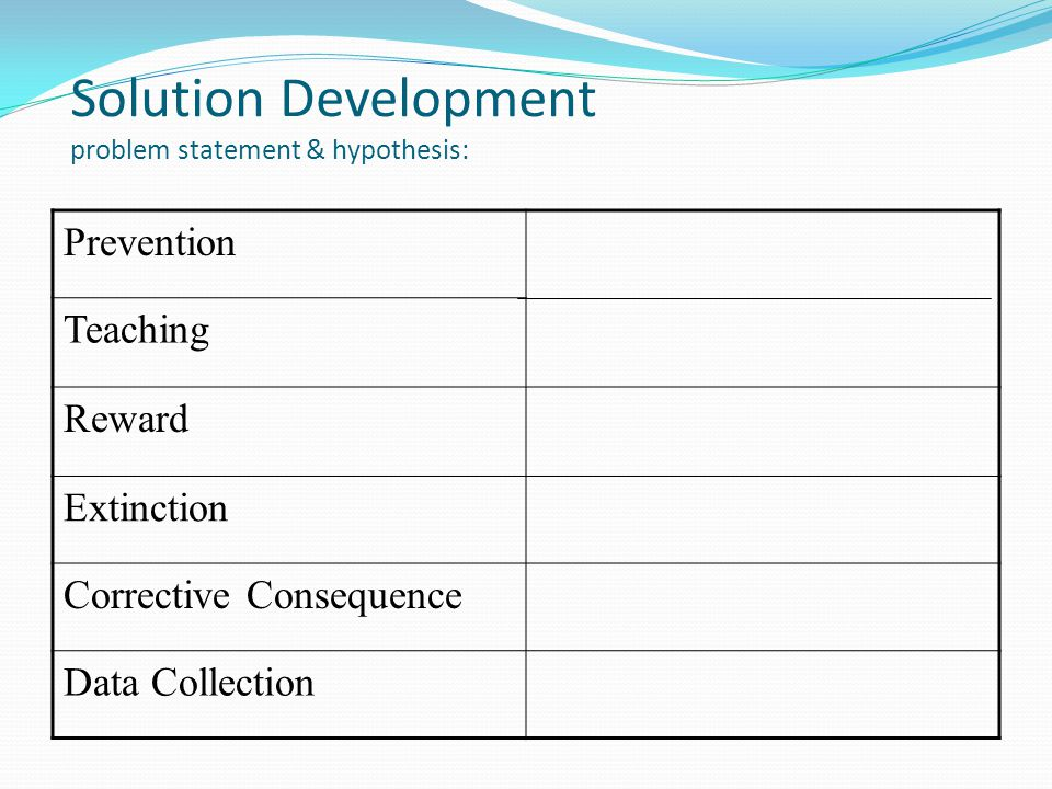 Solution Development problem statement & hypothesis: