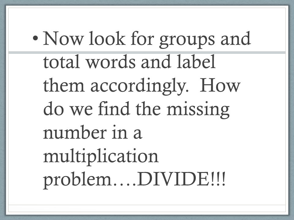 Now look for groups and total words and label them accordingly