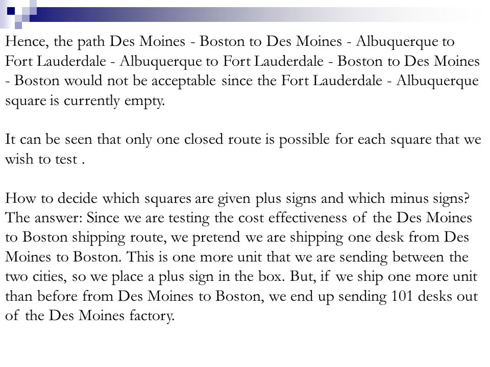 Hence, the path Des Moines - Boston to Des Moines - Albuquerque to Fort Lauderdale - Albuquerque to Fort Lauderdale - Boston to Des Moines - Boston would not be acceptable since the Fort Lauderdale - Albuquerque square is currently empty.