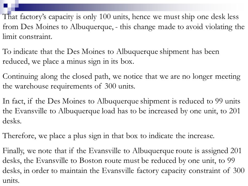 That factory's capacity is only 100 units, hence we must ship one desk less from Des Moines to Albuquerque, - this change made to avoid violating the limit constraint.