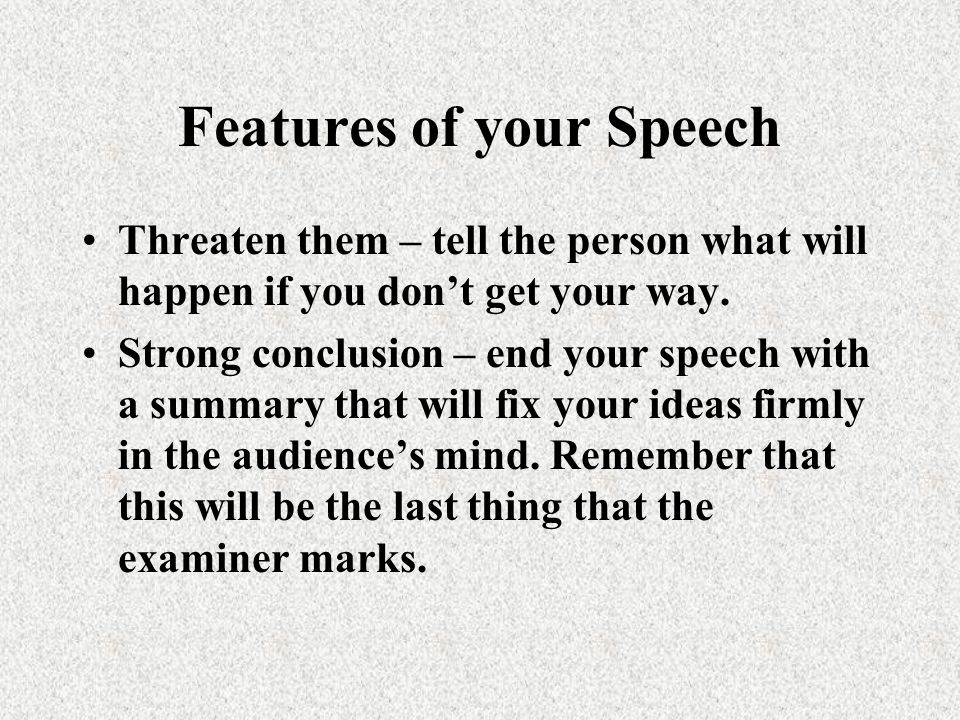 Features of your Speech