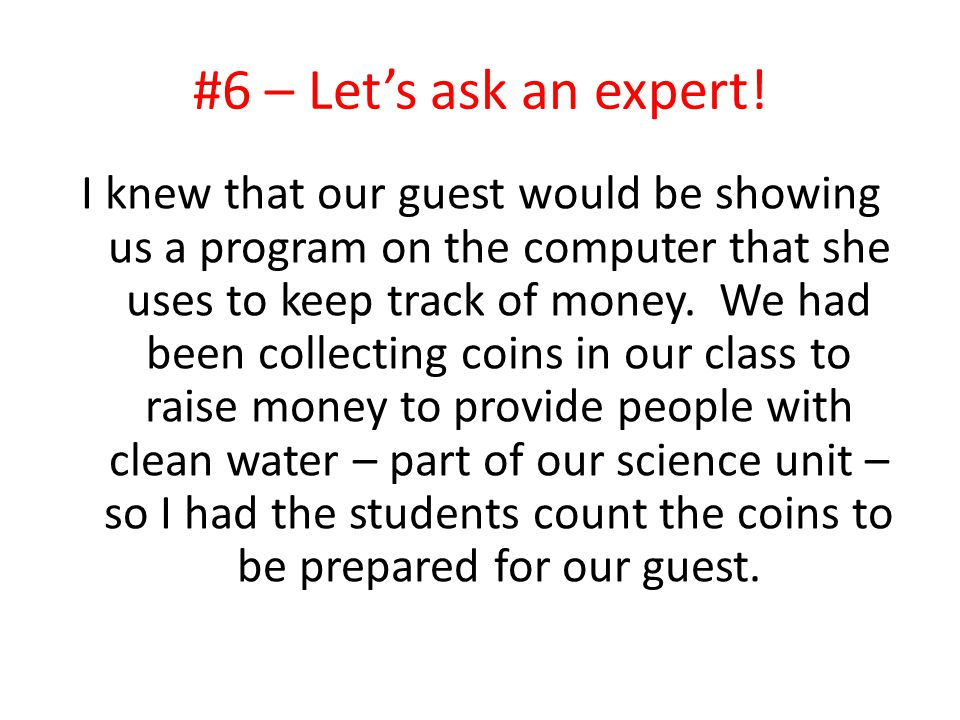 #6 – Let's ask an expert!