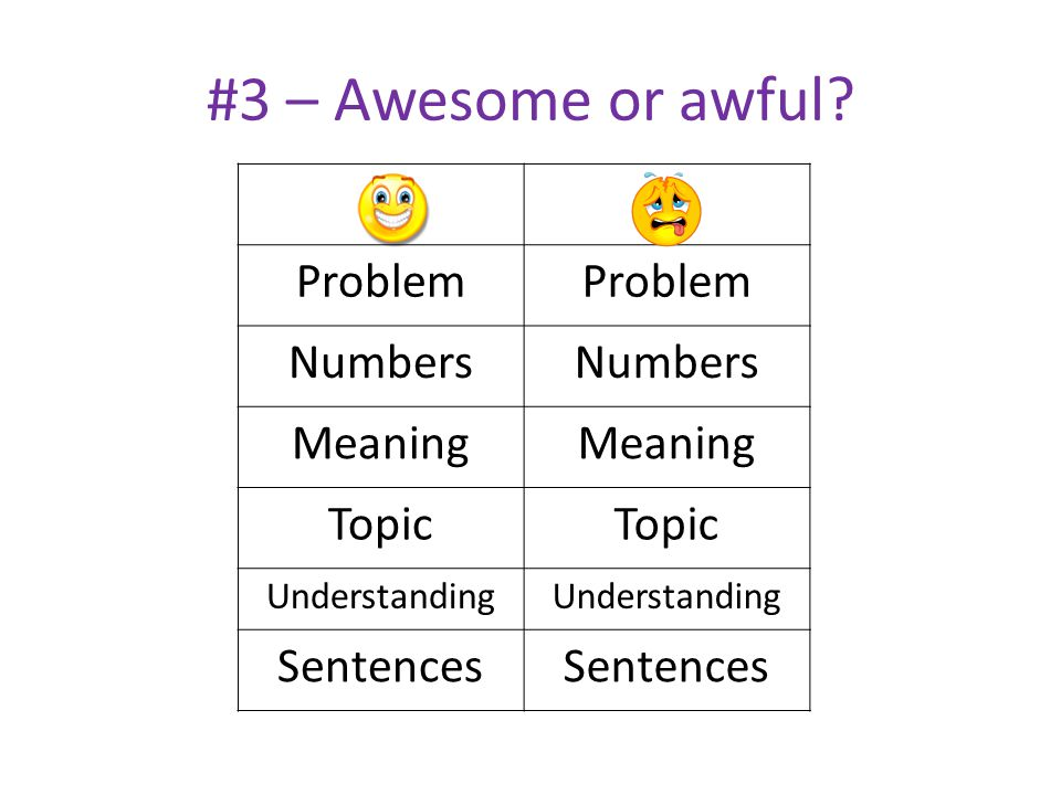 #3 – Awesome or awful Problem Numbers Meaning Topic Sentences