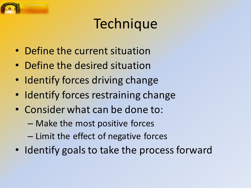 Technique Define the current situation Define the desired situation