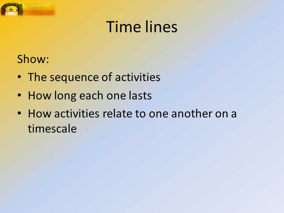 Time lines Show: The sequence of activities How long each one lasts
