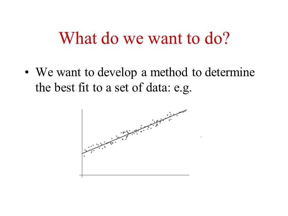 What do we want to do We want to develop a method to determine the best fit to a set of data: e.g.