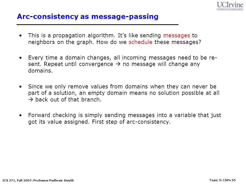 Arc-consistency as message-passing