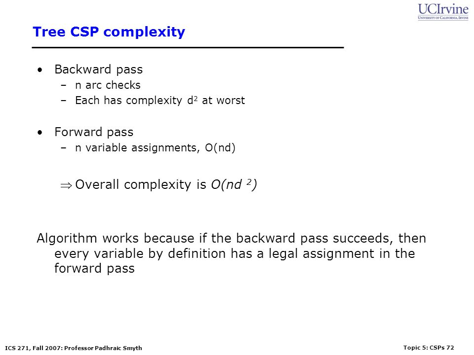 Tree CSP complexity Overall complexity is O(nd 2)