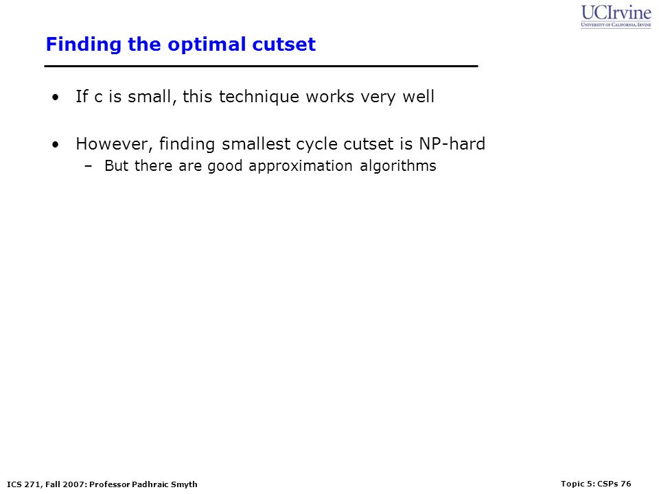 Finding the optimal cutset