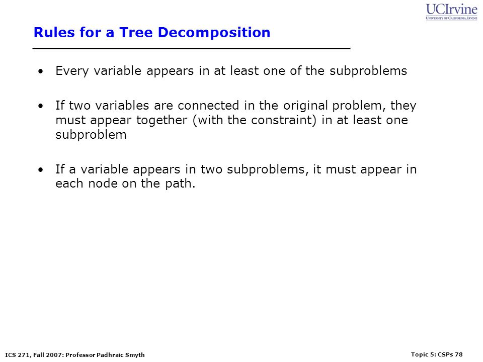 Rules for a Tree Decomposition