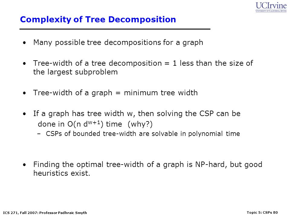 Complexity of Tree Decomposition