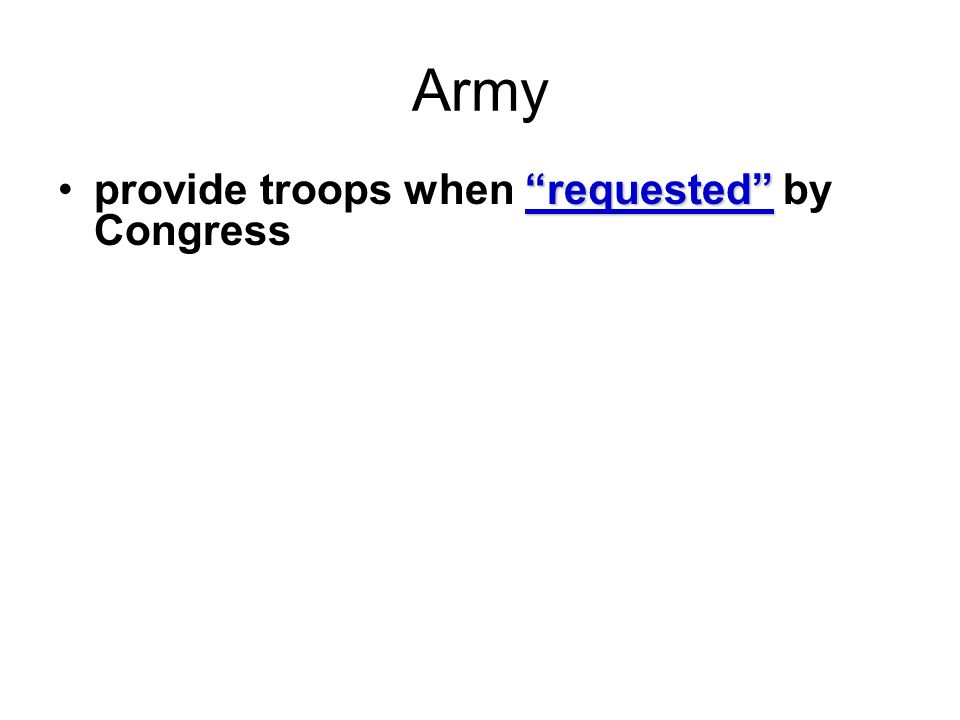 Army provide troops when requested by Congress