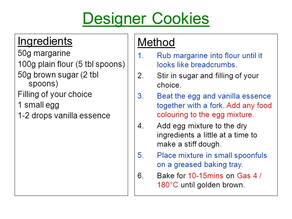 Designer Cookies Ingredients Method 50g margarine