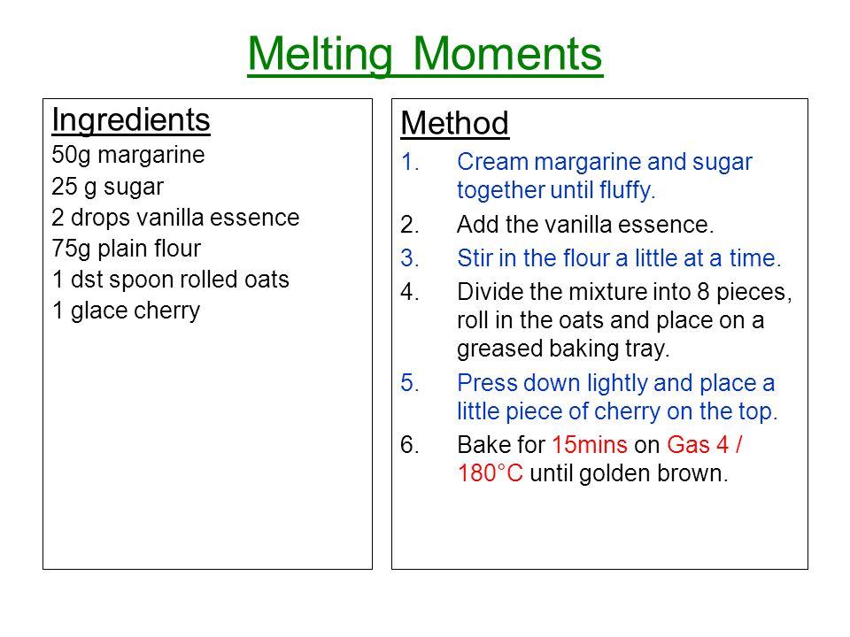 Melting Moments Ingredients Method 50g margarine
