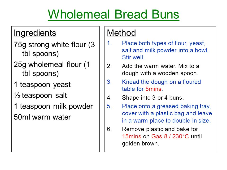 Wholemeal Bread Buns Ingredients Method