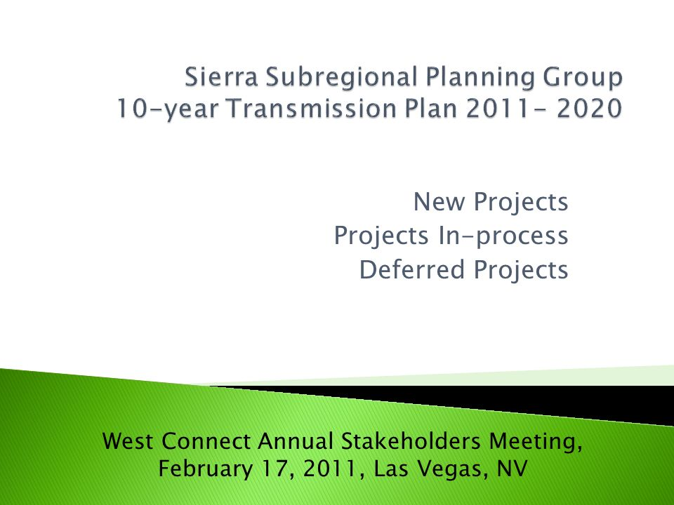 Sierra Subregional Planning Group 10-year Transmission Plan 2011- 2020