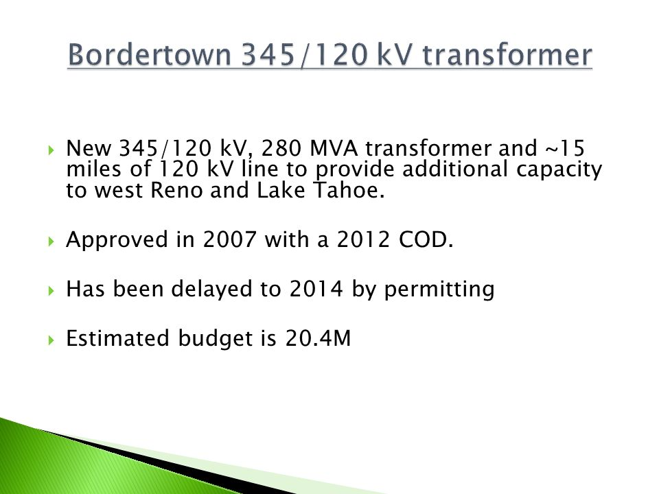 Bordertown 345/120 kV transformer
