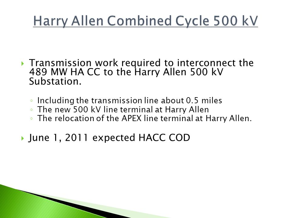 Harry Allen Combined Cycle 500 kV